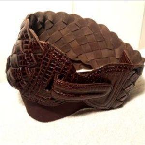 Anthropology Motif 56 Woven Leather Belt Sz L
